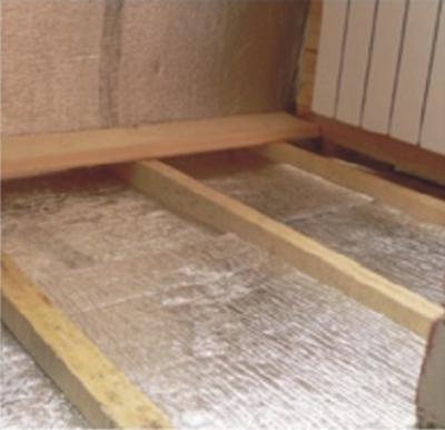 Ну и еще один вариант, как утеплить бетонный пол - тонкая подложка пол.