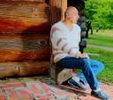 Вязаный пуловер мужской «Деревенское Утро» из собачьей шерсти.Мода 2015.