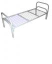 Кровать металлическая одноярусная усиленная сетка сварная 100х100мм (2 перемычки + двойная ножка)