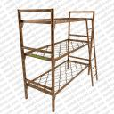Кровать металлическая трехъярусная с лестницей