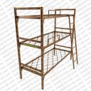 Кровать металлическая трехъярусная с лестницей и ограждением