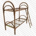 Кровать металлическая двухъярусная усиленная (2 перемычки + двойная ножка) с лестницей и ограждением