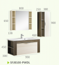 Шкафы для ванной комнаты + зеркальный шкаф+боковой шкаф SFJB100-PWDL