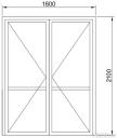 Дверь двустворчатая в проем холодная1600*2100мм