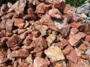 Мрамор бутовый красный с белыми прожилками для альпийской горки, рокария, водоема, сад камней.