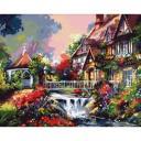 Раскраски по номерам Дом с водопадом, 40*50 см
