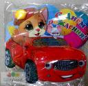 Открытка С Днем рождения (кот на автомобиле) 24х26см.