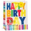 Пакет подарочный С Днем Рождения (разноцветные полосы)