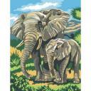 Живопись по номерам Слоненок с мамой, 30x40, Paintboy