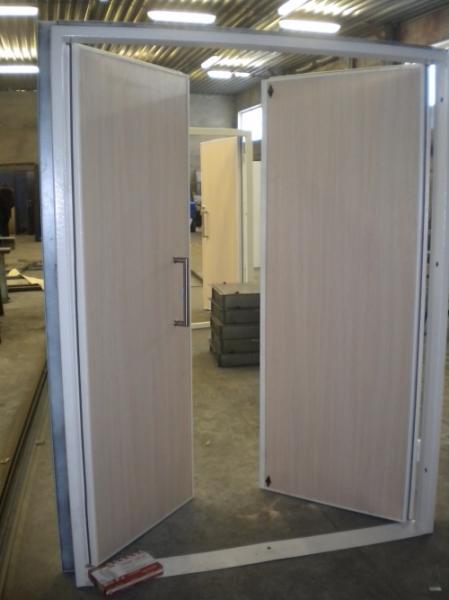 металлическая двустворчатая распашная дверь для организации