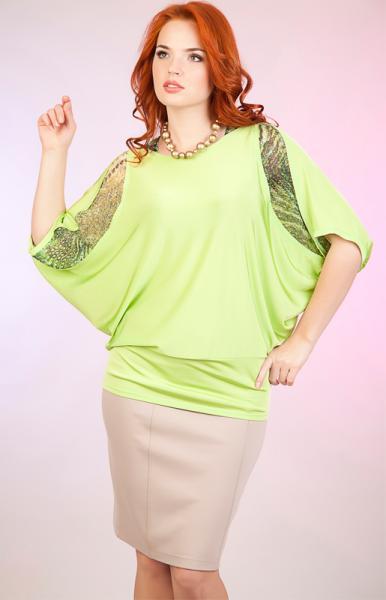 Блузка С Летучим Рукавом Для Полных Из Трикотажного Полотна