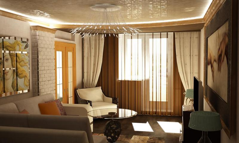 Дизайн зала с двумя дверьми