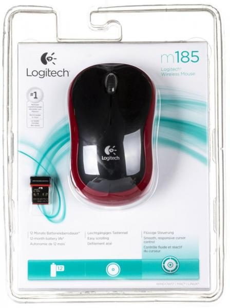 Logitech Wireless Mouse M185 Black-Red USB