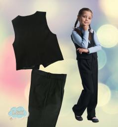 Костюм: брюки для девочки с жилетом