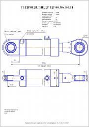 Гидроцилиндр наклона колес цг-80.50х160.11, (225.56.02.00.000, г-103.80.50.160) гс-14.02, 18.05, 18.07, 25.09