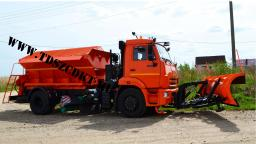 Машина пескоразбрасывающая КДМ-7881.03 с передним отвалом и средней щеткой