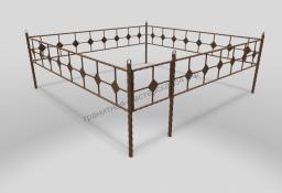 Металлическая оградка на могилу ОМТ 001 витая труба Bronze