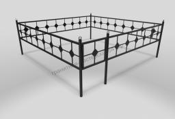 Ограда ОМТ 001 прямоугольная труба Black