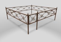 Ограда ОМТ 002 прямоугольная труба Bronze