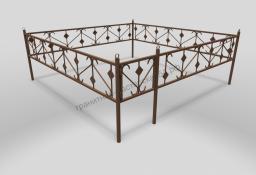 Ограда ОМТ 005 прямоугольная труба Bronze
