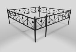 Ограда ОМТ 005 прямоугольная труба Black