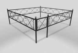 Ограда ОМТ 006 прямоугольная труба Black