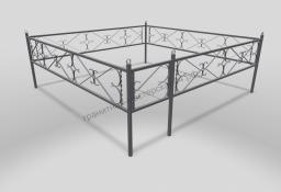 Ограда ОМТ 008 прямоугольная труба Silver