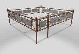 Ограда ОМТ 013 прямоугольная труба Bronze