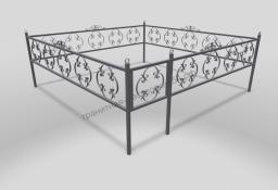 Ограда ОМТ 014 прямоугольная труба Silver