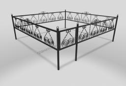Ограда ОМТ 015 прямоугольная труба Black