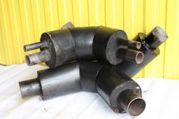 Стальной отвод из пенополиуретана в полиэтиленовой оболочке д=76/140 мм