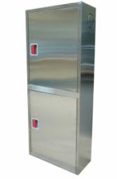 Пожарные шкафы ШПК-320 НЗ из нержавеющей стали для пожарного крана и огнетушителей навесной закрытый или встроенный