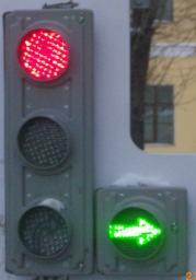 Светофор светодиодный транспортный (Д=100 мм)(стрелка вправо)