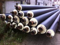Стальная труба в ППУ изоляции в ПЭ оболочке д= 57х3,5/125 мм