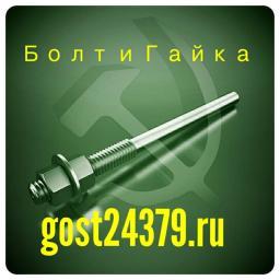 Фундаментный болт прямой тип 5 м24х450 сталь 3сп2 ГОСТ 24379.1-2012