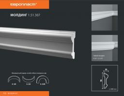 СКИДКИ! 96мм*25*2000 мм Полиуретановый молдинг Европласт 1.51.307