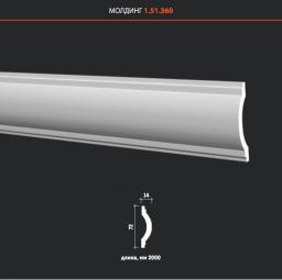 СКИДКИ! 72мм*12*2000 мм Полиуретановый молдинг Европласт 1.51.360