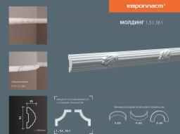 СКИДКИ! 51мм*29*2000 мм Полиуретановый молдинг Европласт 1.51.361