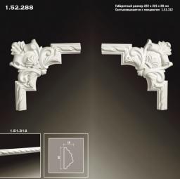 СКИДКИ! 270*270*32 мм Полиуретановый угловой элемент Европласт 1.52.288