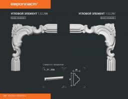 СКИДКИ! 223*215*20 мм Полиуретановый угловой элемент Европласт 1.52.297