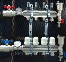 Коллектор для воды 1 х3/4 х 7 с расходомерами, термометрами