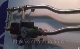 Смесительный узел отопления из нержавеющих труб сильфонных подводок