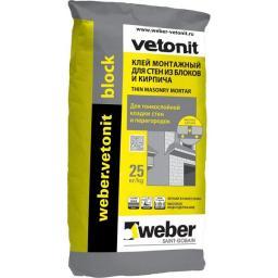 Клей для кладки блоков и кирпичей Weber.Vetonit Block 25 кг