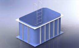 Пластиковый бассейн для бани прямоугольный 3,5*3,5*1,8 м