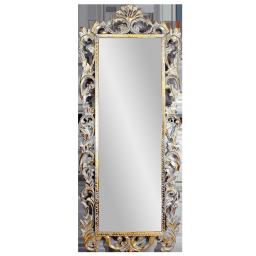 Рама резная для зеркала Флер Премиум, размер рамы 70x170 см, размер зеркала 42x133 см White Gold Wash