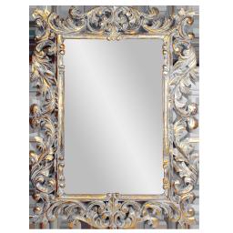 Рама резная для зеркала Дамаск Премиум, размер рамы 90x120 см, размер зеркала 57x87 см White Gold Wash