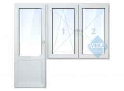 Балконная дверь с 2-мя окнами