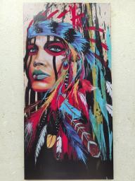 Картина - Постер (Девушка Индеец). Размер: 1000x500 мм.
