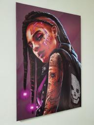 Картина - Постер (Cyberpunk 2077 Девушка Панк). Размер: 900x600 мм.