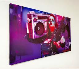 Картина - Постер (Cyberpunk 2077 Девушка с магнитофоном). Размер: 400x730 мм.